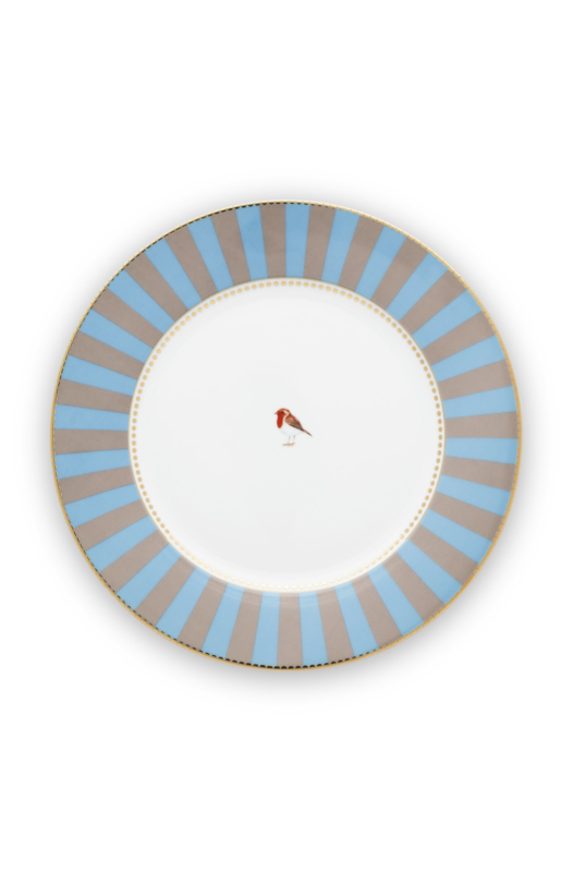 Dinerbord Blue Khaki Stripes (27 cm.) - Pip Studio Love Birds