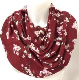Bordeaux tørklæde med blomster