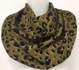 Dybgrønt tørklæde med dyreprint