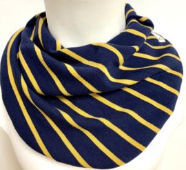 Marineblå med gul stribe