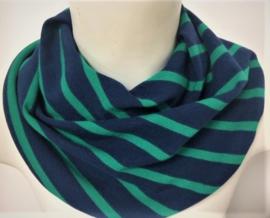 Marineblåt savletørklæde med en grøn stribe