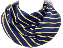 Marineblå med okergul stribe