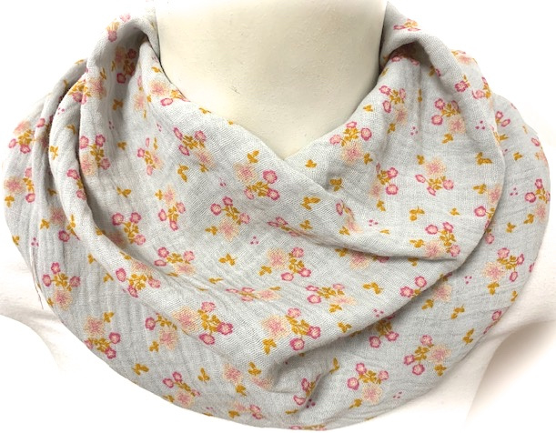 Lysegråt tørklæde med små blomster