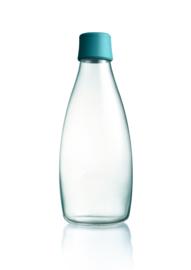 Retap waterfles 800ml met peutroleum groene dop
