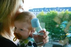 Retap waterfles 300ml met baby blauwe dop