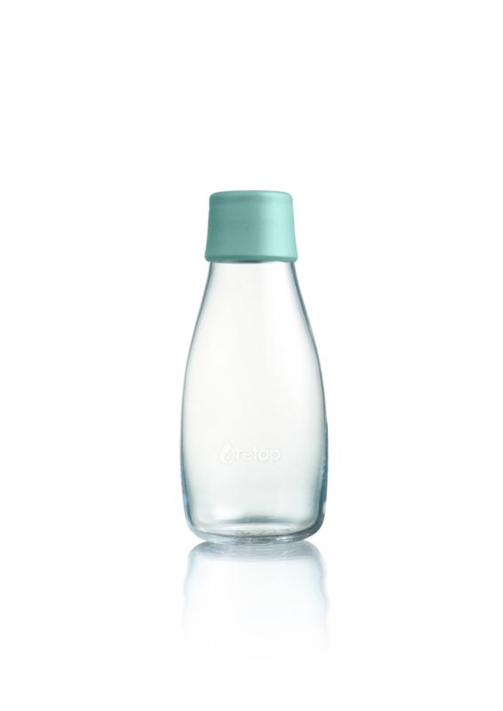 Retap waterfles 300ml met mint blauwe dop