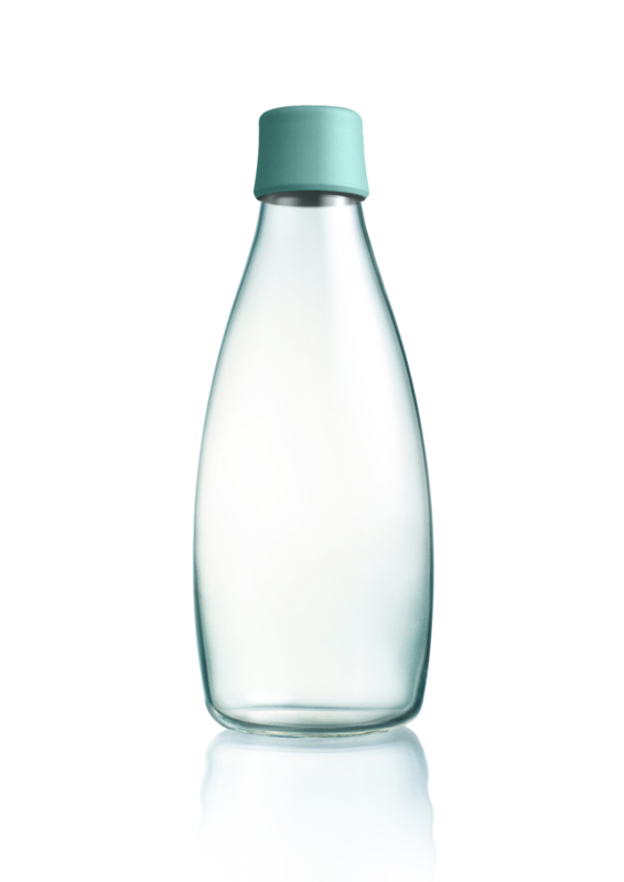 Retap waterfles 800ml met mint blauwe dop