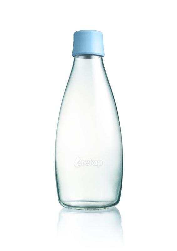 Retap waterfles 800ml met baby blauwe dop