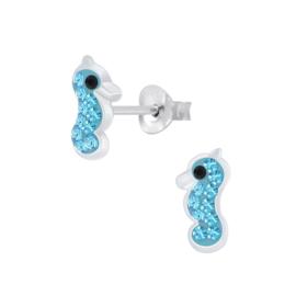 Zilveren kinder oorbellen zeepaardjes blauw kristal