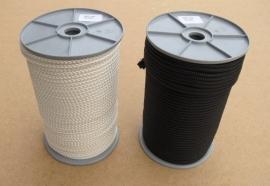 Polyester gevlochten touw 5 mm wit en zwart