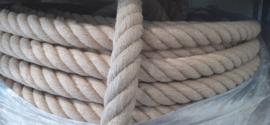 Hennep natuur touw 41 mm 4 strengs geslagen