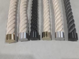Einddoppen  voor trapleuning touw - RVS - Messing - Zwart