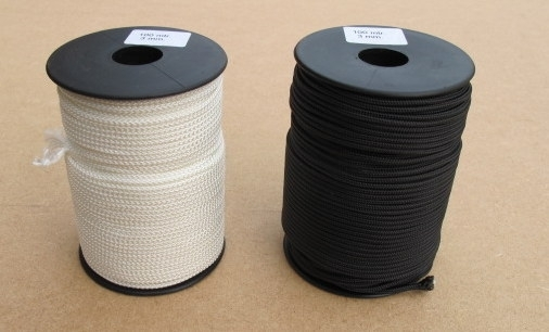 Polyester gevlochten touw 3 mm wit en zwart