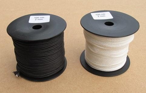 Polyester gevlochten touw 2 mm wit en zwart