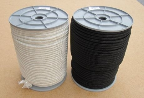 Polyester gevlochten touw 6 mm wit en zwart