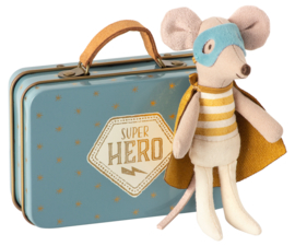 Superhero Mouse. Little brother in suitcase.