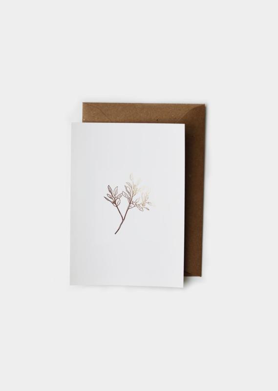 Wenskaart Eucalyptus met goudfolie