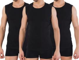 3 stuks Bonanza A-shirt - ronde hals - mouwloos - zwart