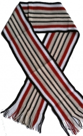 Sjaal  zwart wit ecru rood streep