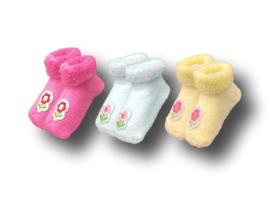 3 paar Meisjes Babysokken - Bloemen - Fuchsia-Wit-Geel