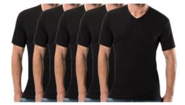 5 stuks Bonanza Basic T-shirt - V-hals - 100% katoen - Zwart