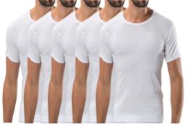 5 stuks Bonanza Basic T-shirt - O-neck - 100% katoen - Wit