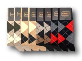 8 paar Herensokken - Bonanza Style - Ruit - Beige-Antraciet-Zwart