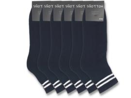 6 paar Quarter Sneakersokken - SQOTTON - Zwart-Wit Gestreept
