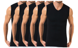 5 stuks Bonanza A-shirt - V-hals - mouwloos - zwart