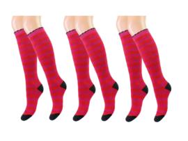 3 paar Dames kniekousen - Badstof - Gestreept - Fuchsia-Rood