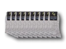 10 paar Damessokken - 100% Katoen  - Naadloos - Lichtgrijs