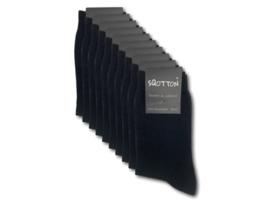 10 paar Damessokken - SQOTTON - 100% Katoen - Naadloos - Zwart