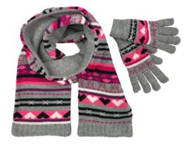 Winterset 2-delig - Hartjes - Grijs-Roze