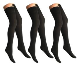 3 paar Dames panty/overknees - 70 denier - zwart