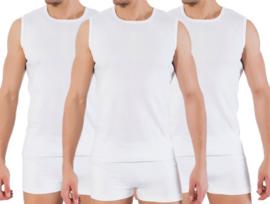 3 stuks Bonanza A-shirt - ronde hals - mouwloos - wit