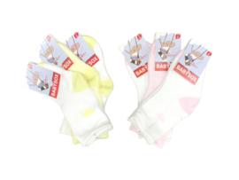 6 paar Meisjes Babysokken - Wit-Geel-Roze - Hartjes