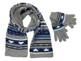 Winterset 2-delig - Hartjes - Grijs-Blauw
