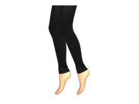 Dames panty/legging - 80 Denier - Zwart - Kant/Strik