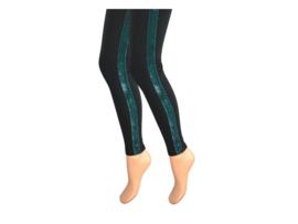 Dames legging - Katoen - Fluweel streep - Groen