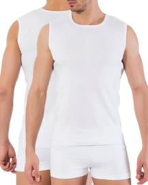 Bonanza A-shirt - ronde hals - mouwloos - wit