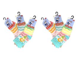 6 paar Meisjes Babysokken - Blauw-Beige-Roze - Zeemeermin