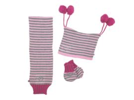 Winterset 3-delig - Sweetheart - Grijs-Roze-Fuchsia