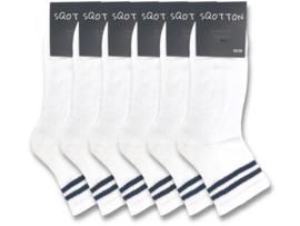 6 paar Quarter Sneakersokken - SQOTTON - Wit-Zwart Gestreept