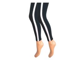 Dames legging - Katoen - Witte streep - Zwart
