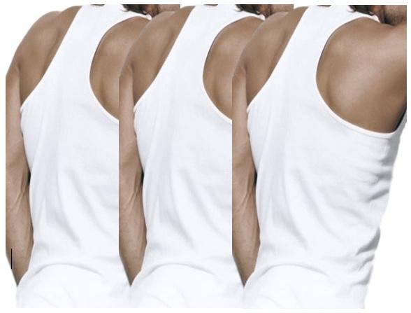 3 stuks Bonanza halterhemd - 100% katoen - wit