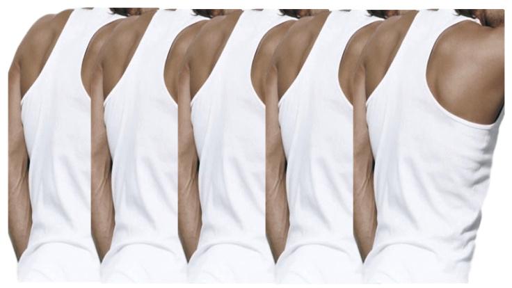 5 stuks Bonanza halterhemd - 100% katoen - wit