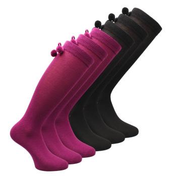 6 paar Kniekousen - Girls - Pompon - zwart-paars