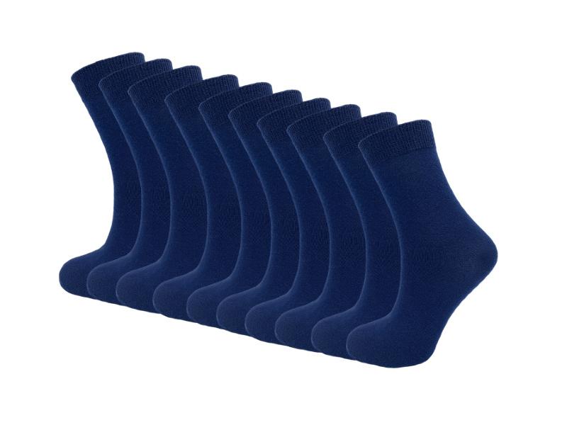 10 paar Damessokken - 100% Katoen  - Naadloos - Donkerblauw