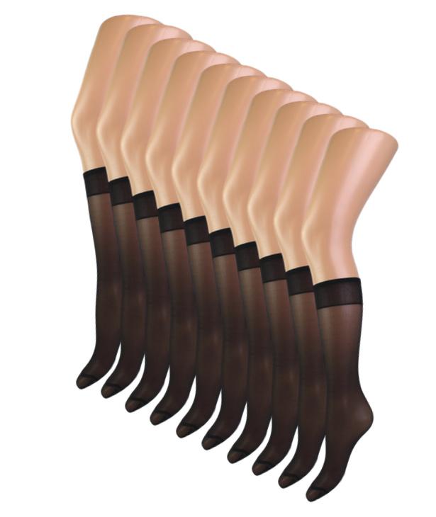 10 paar Bonanza panty kniekousen - 15 Denier - Zwart