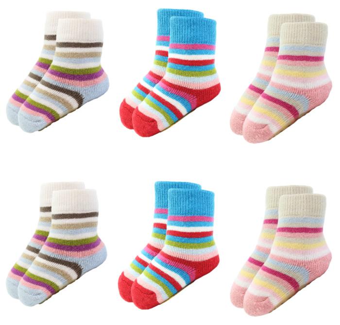 6 paar Meisjes Babysokken - Anti-slip - Gestreept